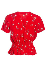 Floral Smocked Waist Blouse - Red Womens Shirts & Blouses FAIRWEATHER
