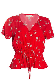 Floral Smocked Waist Blouse - Red Womens Shirts & Blouses FAIRWEATHER S