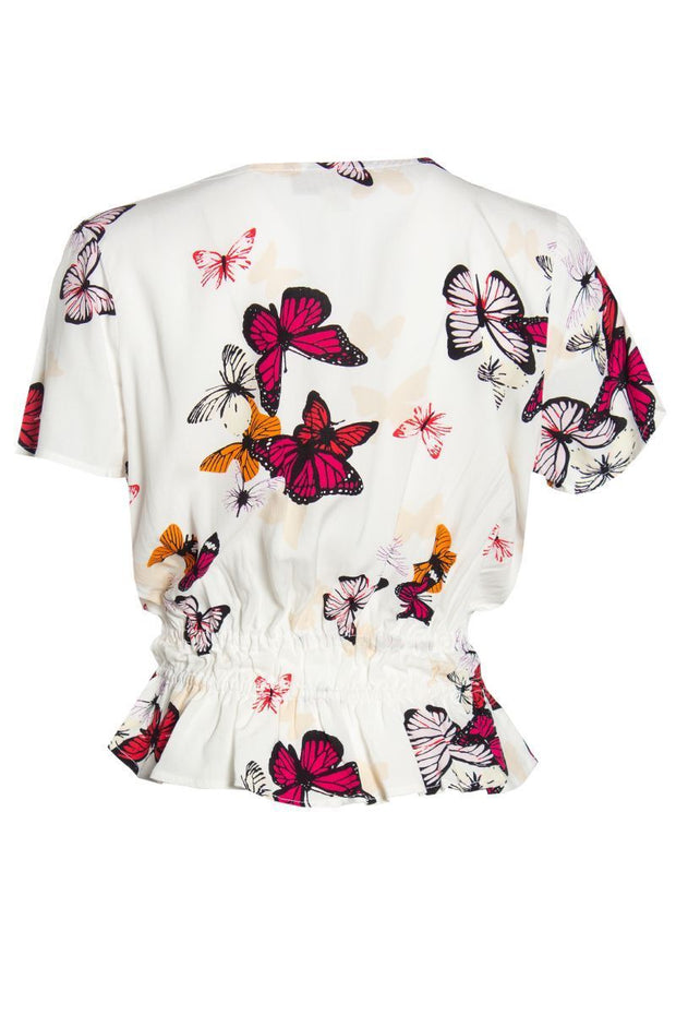 Butterfly Pattern Smocked Waist Blouse - Multi Womens Shirts & Blouses FAIRWEATHER