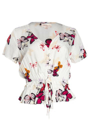 Butterfly Pattern Smocked Waist Blouse - Multi Womens Shirts & Blouses FAIRWEATHER S