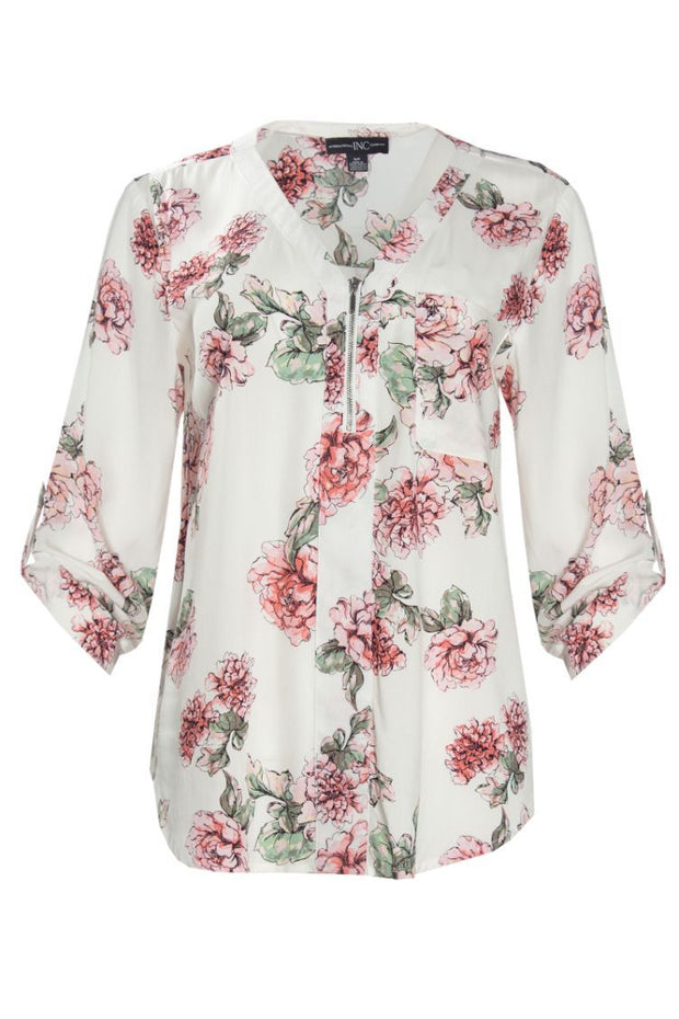 Floral Zip-Up Blouse - White Womens Shirts & Blouses FAIRWEATHER S