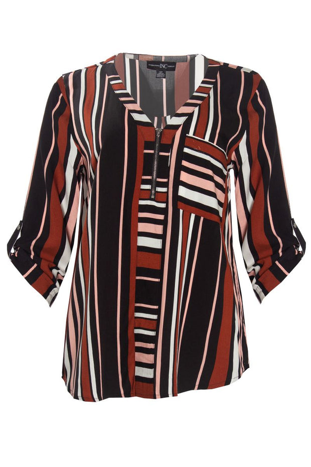 Striped Zip-Up Blouse - Multi Womens Shirts & Blouses FAIRWEATHER S