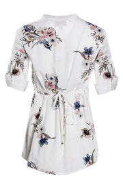 Floral Pintuck Button-Up Shirt - White Womens Shirts & Blouses FAIRWEATHER
