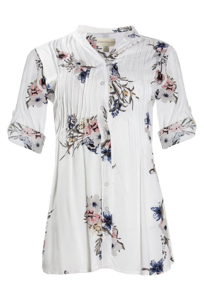 Floral Pintuck Button-Up Shirt - White Womens Shirts & Blouses FAIRWEATHER S