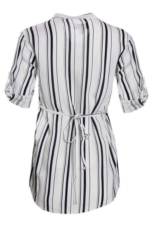 Striped Pintuck Button-Up Shirt - White Womens Shirts & Blouses FAIRWEATHER