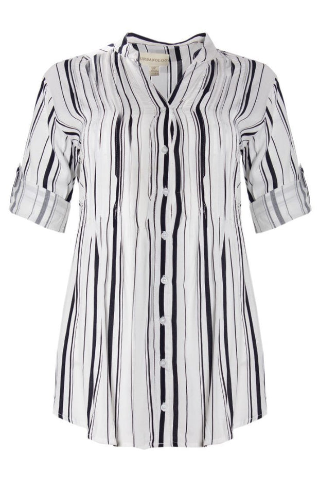 Striped Pintuck Button-Up Shirt - White Womens Shirts & Blouses FAIRWEATHER S