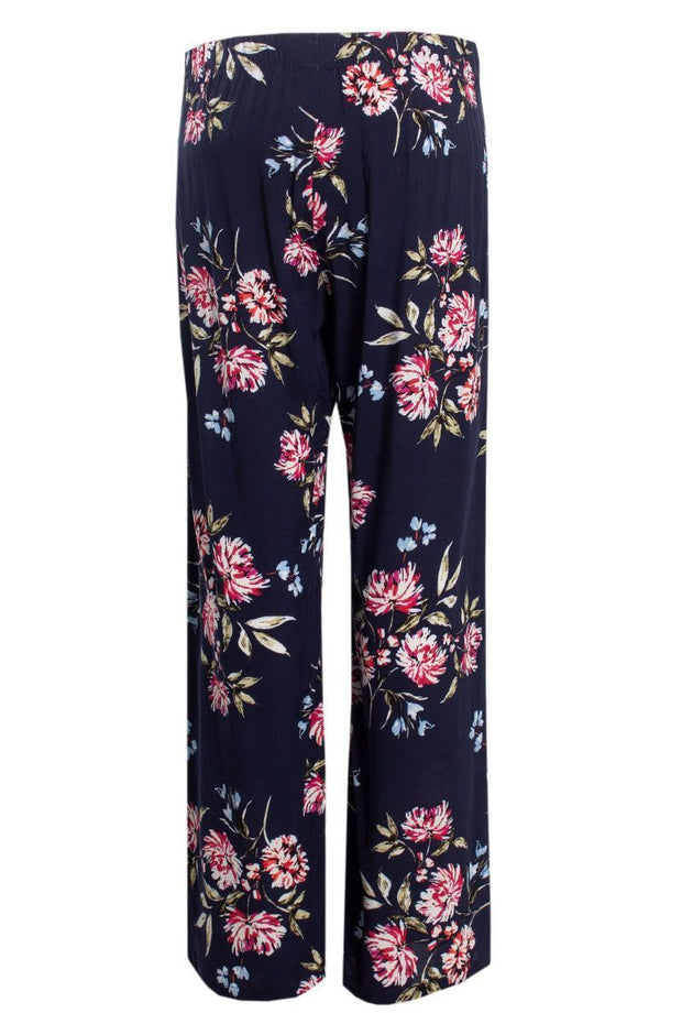 Floral Belted Palazzo Pants - Navy Womens Pants FAIRWEATHER