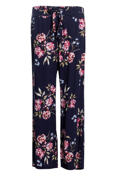 Floral Belted Palazzo Pants - Navy Womens Pants FAIRWEATHER S