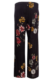 Floral Belted Palazzo Pants - Black Womens Pants FAIRWEATHER