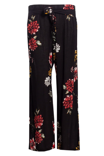 Floral Belted Palazzo Pants - Black Womens Pants FAIRWEATHER S