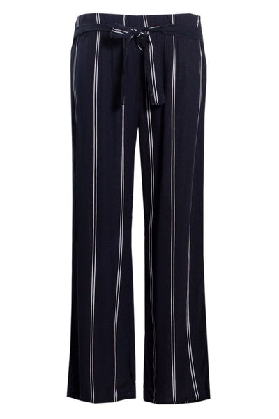 Striped Belted Palazzo Pants - Navy Womens Pants FAIRWEATHER S