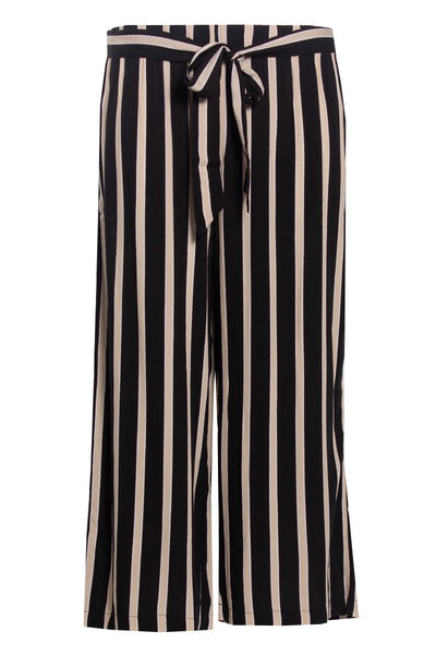 Striped Culotte Pants - Black Womens Pants FAIRWEATHER S