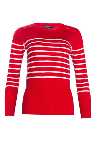 Striped Pullover Sweater - Red Womens Pullover Sweaters FAIRWEATHER S