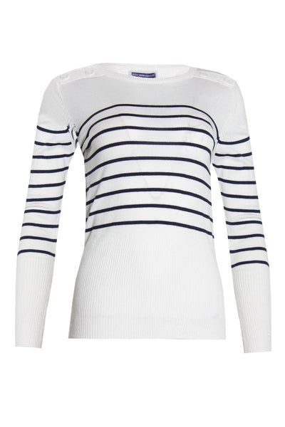 Striped Pullover Sweater - White Womens Pullover Sweaters FAIRWEATHER S