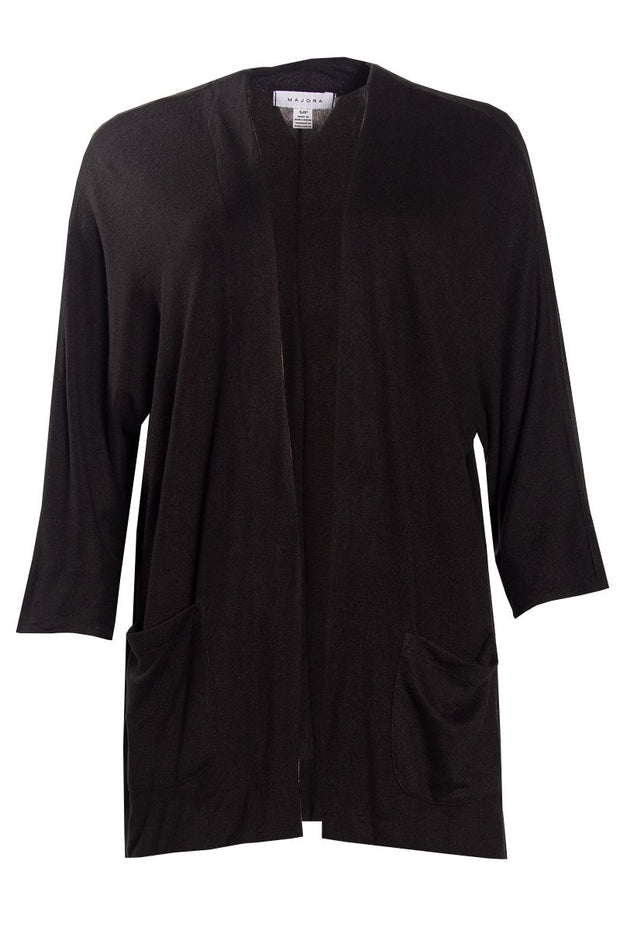 3/4 Sleeve Cardigan - Black Womens Cardigans FAIRWEATHER S