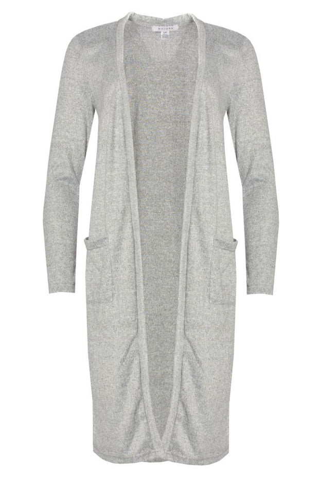 Longline Cardigan With Pockets - Grey Womens Cardigans FAIRWEATHER S