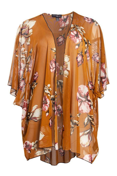 Floral Short Kimono - Orange Womens Shirts & Blouses FAIRWEATHER OS/TU