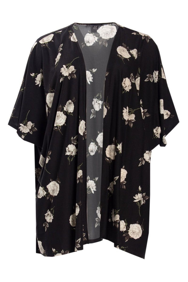 Floral Short Kimono Blouse - Black Womens Shirts & Blouses FAIRWEATHER OS/TU