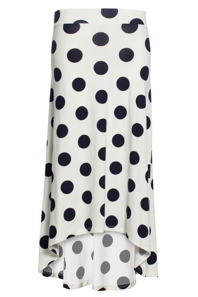 Polka Dot High-Low Maxi Skirt - White Womens Skirts FAIRWEATHER S