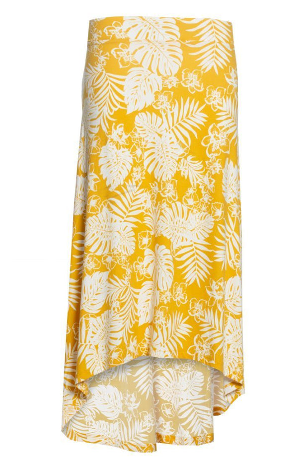 Floral High-Low Maxi Skirt - Yellow Womens Skirts FAIRWEATHER S
