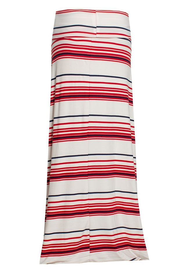Striped Maxi Skirt - White Womens Skirts FAIRWEATHER