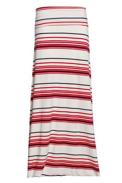 Striped Maxi Skirt - White Womens Skirts FAIRWEATHER S
