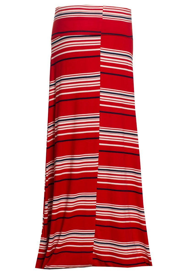 Striped Maxi Skirt - Red Womens Skirts FAIRWEATHER