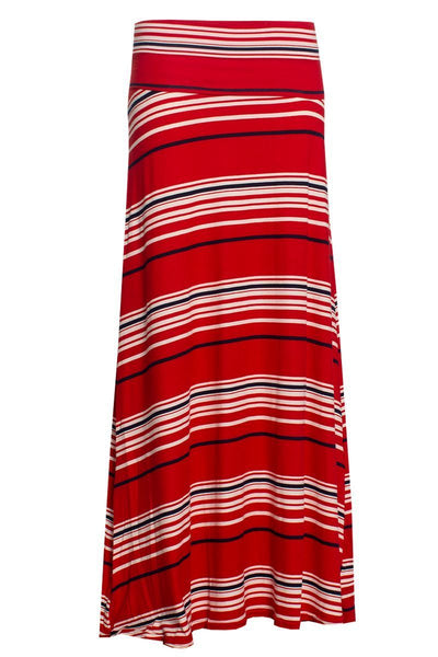 Striped Maxi Skirt - Red Womens Skirts FAIRWEATHER S