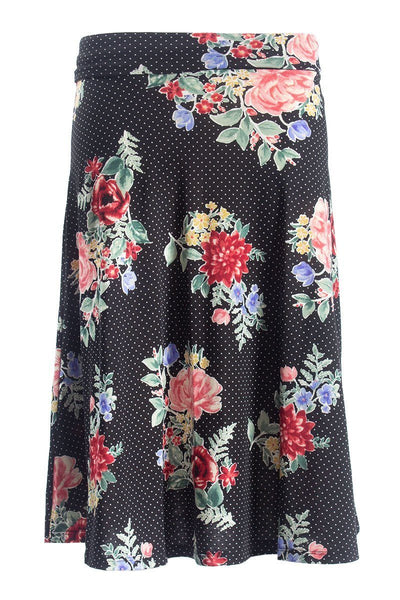 Floral Foldover Skirt - Black Womens Skirts FAIRWEATHER S
