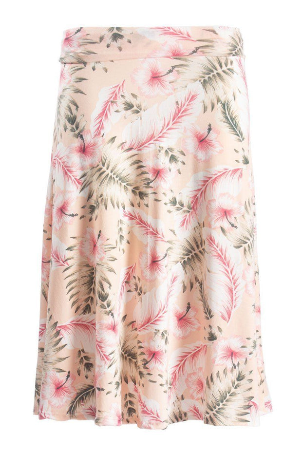 Floral Foldover Maxi Skirt - Pink