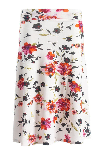 Floral Foldover Skirt - White Womens Skirts FAIRWEATHER S