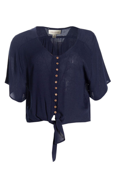 Front Tie Shirt - Navy Womens Shirts & Blouses FAIRWEATHER S