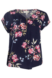 Floral Capsleeve Blouse - Navy Womens Shirts & Blouses FAIRWEATHER S
