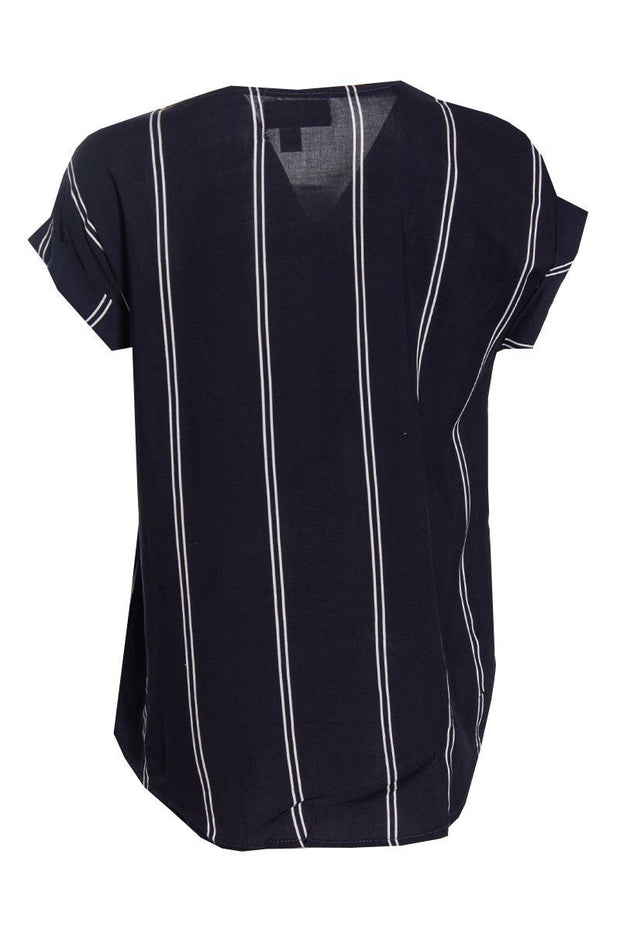 Striped Capsleeve Blouse - Navy Womens Shirts & Blouses FAIRWEATHER