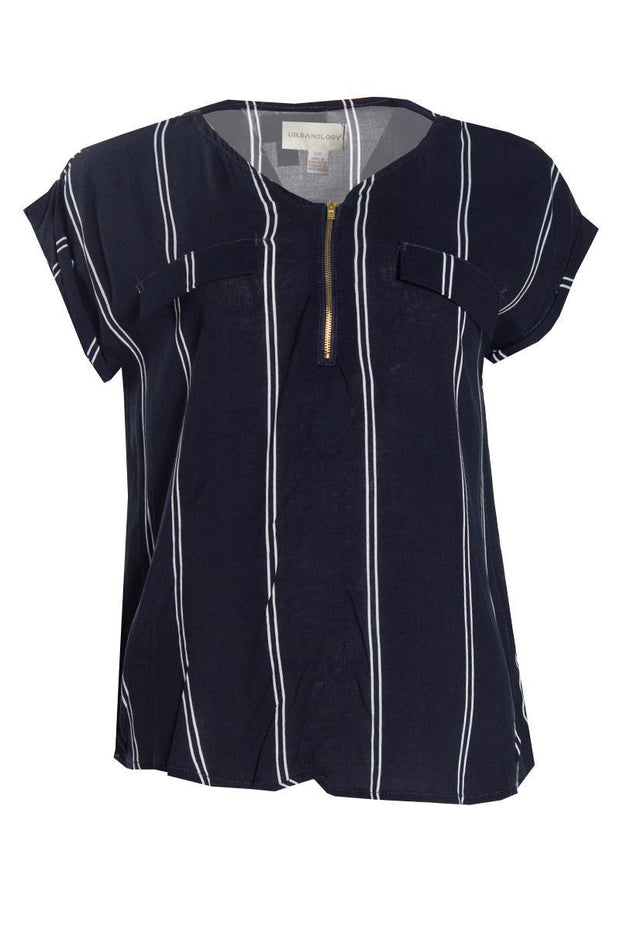 Striped Capsleeve Blouse - Navy Womens Shirts & Blouses FAIRWEATHER S
