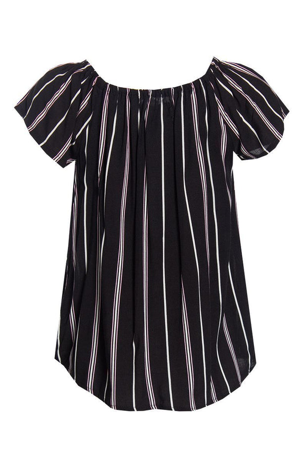 Striped Ruffle Blouse - Black Womens Shirts & Blouses FAIRWEATHER