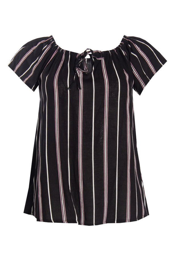 Striped Ruffle Blouse - Black Womens Shirts & Blouses FAIRWEATHER S