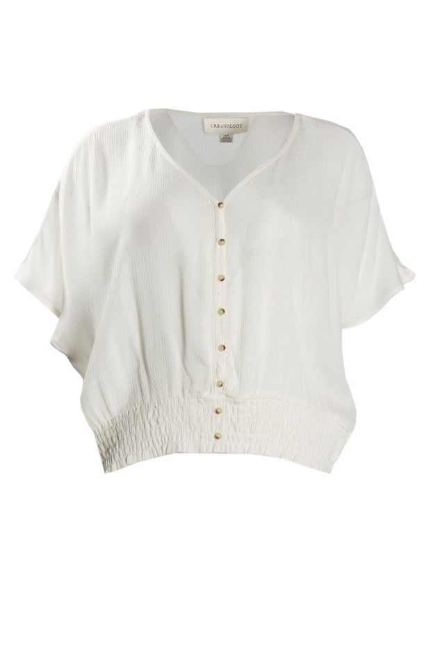 Crinkle Peasant Blouse - White Womens Shirts & Blouses FAIRWEATHER S