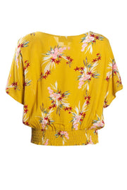 Floral Crinkle Peasant Blouse - Yellow Womens Shirts & Blouses FAIRWEATHER
