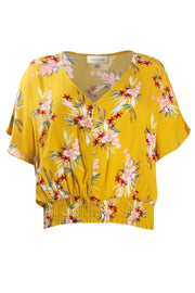 Floral Crinkle Peasant Blouse - Yellow Womens Shirts & Blouses FAIRWEATHER S