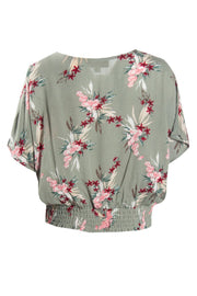 Floral Crinkle Peasant Blouse - Olive Womens Shirts & Blouses FAIRWEATHER
