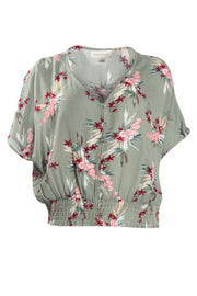 Floral Crinkle Peasant Blouse - Olive Womens Shirts & Blouses FAIRWEATHER S