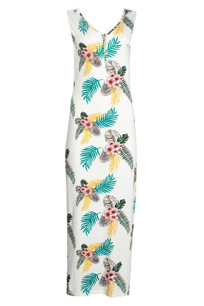 Floral 1/4 Zip Maxi Dress - White Womens Maxi Dresses FAIRWEATHER S