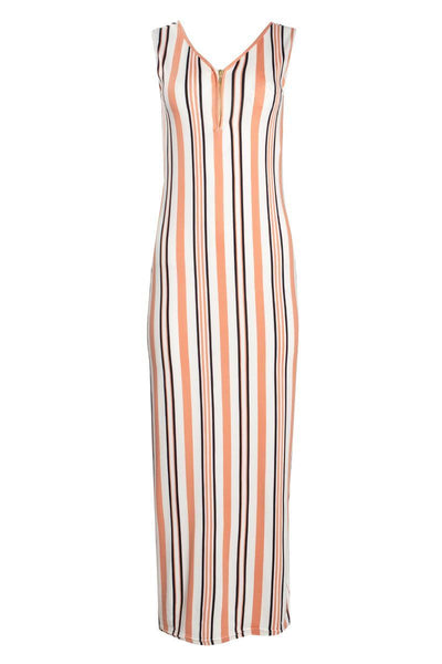 Striped 1/4 Zip Maxi Dress - White Womens Maxi Dresses FAIRWEATHER S