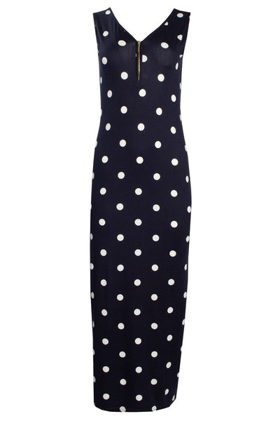 Polka Dot 1/4 Zip Maxi Dress - Navy Womens Maxi Dresses FAIRWEATHER S