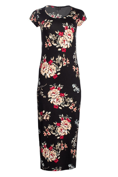 Floral Cap Sleeve Maxi Dress - Black Womens Maxi Dresses FAIRWEATHER S