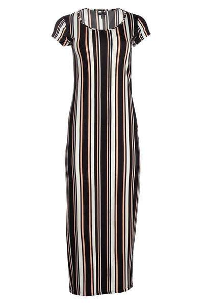 Striped Cap Sleeve Maxi Dress - Black Womens Maxi Dresses FAIRWEATHER S