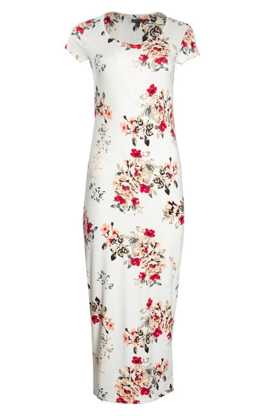 Floral Cap Sleeve Maxi Dress - White Womens Maxi Dresses FAIRWEATHER S