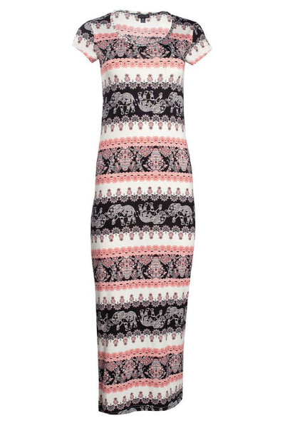 Cap Sleeve Maxi Dress - White Pattern Womens Maxi Dresses FAIRWEATHER S