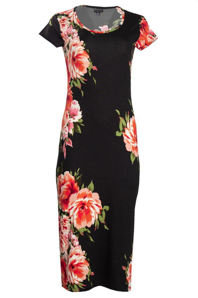 Floral Cap Sleeve Midi Dress - Black Womens Midi Dresses FAIRWEATHER S